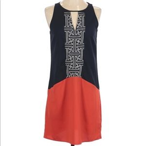 THML shift dress like new Small navy and orange